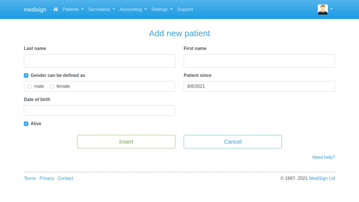 MediSign.com Screenshots - Add new patient