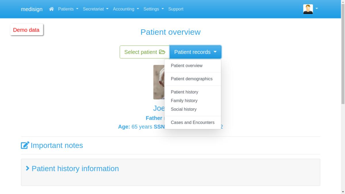 MediSign.com Screenshots - EHR menu