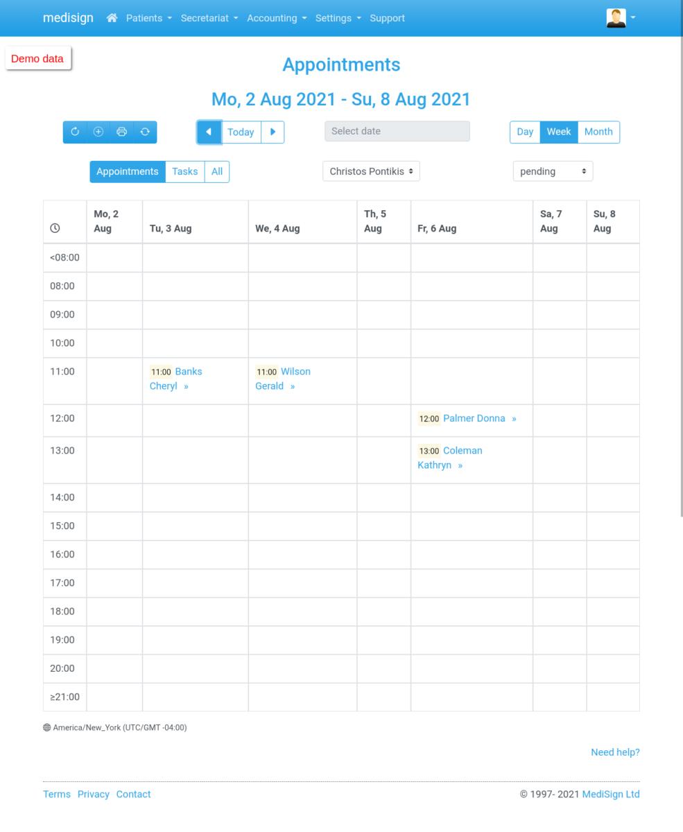 MediSign.com Screenshots on Tablet Landscape - Appointments