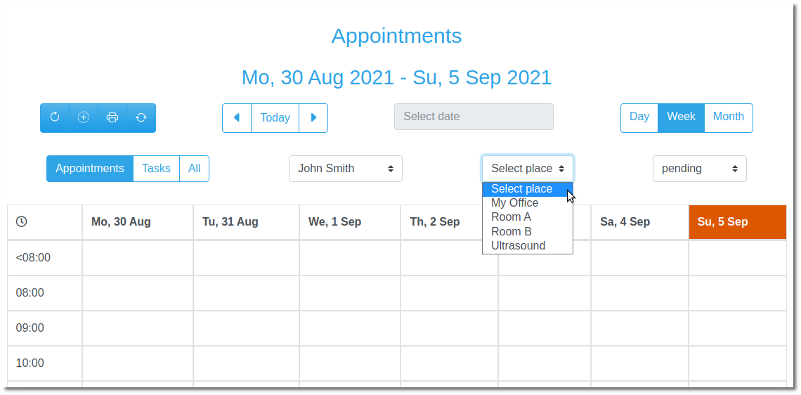 MediSign - Appointments per examination room